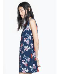 Mango Blue Cord Floral Dress