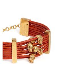 Alexander McQueen | Red Multi Skull Leather Bracelet | Lyst