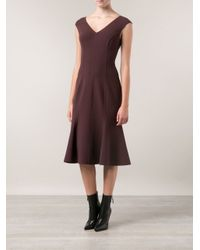 Michael Kors Red V-Neck Fitted Dress