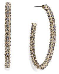 INC International Concepts - Metallic Gold-tone Pave Encrusted Hoop Earrings - Lyst