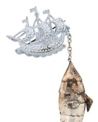 Maria Zureta Metallic Articulated Fish Bronze Safety Pin