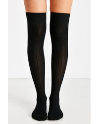 Hansel From Basel Black Dc Rib Thigh-high Sock