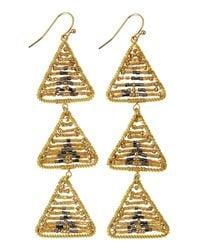 Nakamol - Metallic Beaded Chevron Triple-Drop Earrings - Lyst