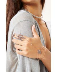 Natalie B. Jewelry | Metallic Lovers Lace Finger Bracelet | Lyst