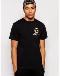Aape Black By A Bathing Ape T-Shirt With Small Logo for men