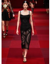 Dolce & Gabbana Black Embroidered Mesh Bandeau Dress