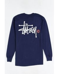 Stussy - Blue Basic Logo Long-sleeve Tee for Men - Lyst