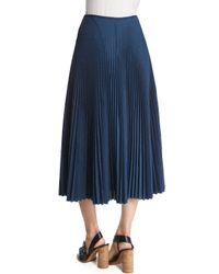 Cedric Charlier - Blue Pleated Voile Midi Skirt - Lyst
