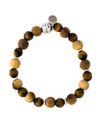 Eleventy Brown Wood Beaded Bracelet for men
