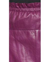3.1 Phillip Lim Purple Paperbag Waist Leather Skirt - Orchid