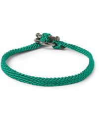Yuvi Green Silver and Woven Cord Bracelet for men