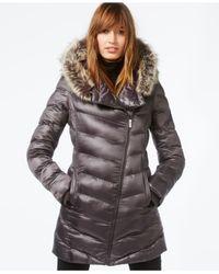 RACHEL Rachel Roy | Metallic Faux-fur-trim Asymmetrical Puffer Coat | Lyst