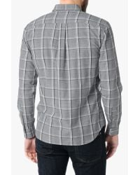 7 For All Mankind - Gray Large Plaid Shirt In Grey Plaid for Men - Lyst