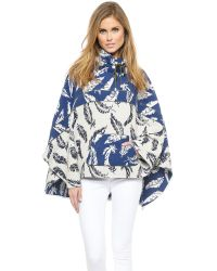 Laveer | Blue Poncho - Navy/White | Lyst