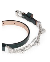 Alexander McQueen | Green Skull Chain Double Wrap Leather Bracelet | Lyst