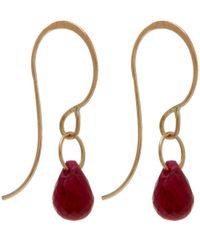 Melissa Joy Manning - Metallic Small Gold And Ruby Single Drop Earrings - Lyst