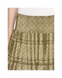 Ralph Lauren | Orange Geometric-print Tiered Skirt | Lyst
