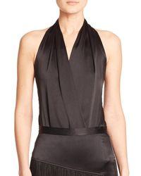 Tamara Mellon | Black Draped Silk Halter Top | Lyst