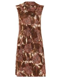 Izabel London Brown Knit Tunic Dress With Fold Over Details