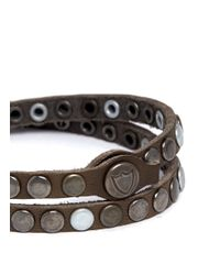 HTC Hollywood Trading Company Metallic Studded Double Wrap Bracelet for men