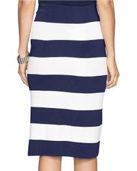 Lauren by Ralph Lauren Blue Petite Striped Knit Skirt