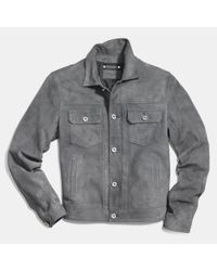 COACH | Gray Suede Jean Jacket for Men | Lyst