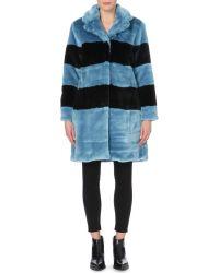 Marc By Marc Jacobs Blue Boxy Faux-Fur Coat