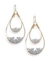 Nunu | Metallic Grey Wire-beaded Teardrop Earrings | Lyst