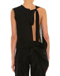 Marques'Almeida Black Deconstructed Linen Top