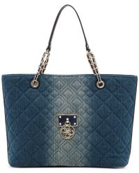 Guess Blue Aliza Medium Quilted Tote