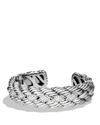 David Yurman | Metallic Woven Cable Narrow Cuff With Diamonds | Lyst