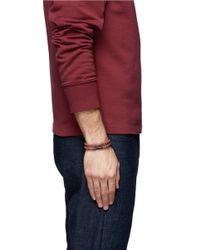 Tateossian | Red 'edinburgh' Plaid Leather Double Wrap Bracelet for Men | Lyst