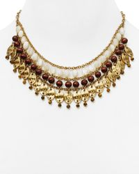 "Ralph Lauren - Metallic Lauren Beaded Bib Necklace, 16"" - Lyst"