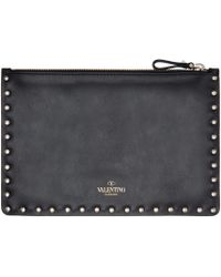 Valentino | Black Leather Rockstud Pouch | Lyst