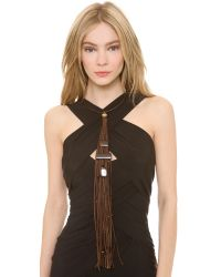 Donna Karan | Brown Leather Wrapped Wire Choker | Lyst