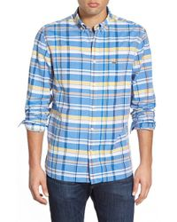Lacoste | Blue 'resort' Regular Fit Plaid Poplin Woven Shirt for Men | Lyst