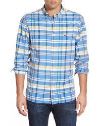 Lacoste - Blue 'resort' Regular Fit Plaid Poplin Woven Shirt for Men - Lyst