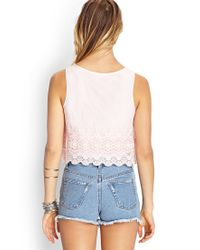 Forever 21 - Pink Crocheted-mesh Overlay Top - Lyst