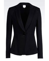 Armani | Black Jacket In Milano Rib | Lyst