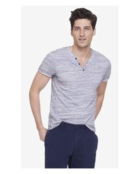 Express Blue Space Dyed Y-Neck Henley Tee for men