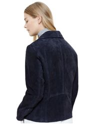 Violeta by Mango - Blue Plus Size Suede Moto Jacket - Lyst