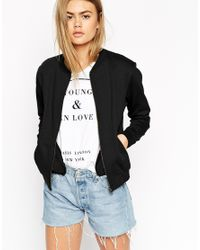ASOS | Black The Bomber Jacket In Jersey | Lyst