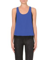 The Kooples | Blue Mesh-inserts Chiffon Top | Lyst