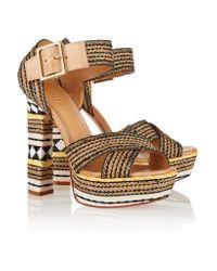 Schutz Brown Erminiana Woven Sandals