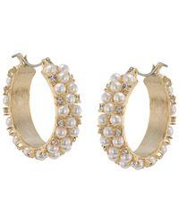 Carolee | The Chloe White Pearl Hoop Pierced Earrings | Lyst