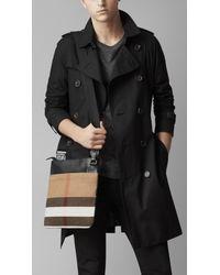 Burberry Black Canvas Check Crossbody Bag for men