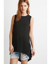 Forever 21 | Black Contemporary Side-slit Textured Tunic | Lyst