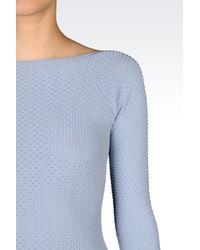 Emporio Armani - Blue Dress In Viscose Blend - Lyst