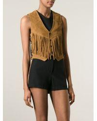 Saint Laurent | Brown Fringed Waistcoat | Lyst