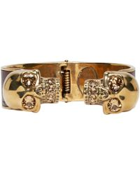 Alexander McQueen | Red Gold And Maroon Twin Skull Cuff for Men | Lyst